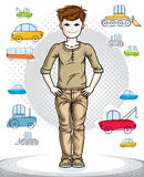 Teen cute little boy standing in stylish casual clothes. Vector. Character. Childhood lifestyle cartoon Royalty Free Stock Images