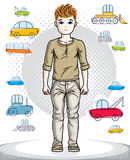 Teen cute little boy standing in stylish casual clothes. Vector. Kid illustration. Fashion theme clipart. Childhood lifestyle cartoon Royalty Free Stock Photography