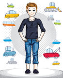 Teen cute little boy standing in stylish casual clothes.. Vector pretty nice human illustration. Childhood lifestyle clip art Royalty Free Stock Photo