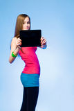 Teen cutie with tablet for copy space. Stock Images