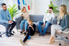 Teen daughter in family therapy Stock Image