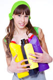 Teen with detergents Royalty Free Stock Photos
