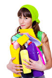 Teen with detergents Royalty Free Stock Photo
