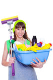 Teen with detergents and mop Royalty Free Stock Images