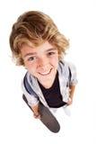 Teen distorted portrait. Overhead view of cute teen boy distorted portrait on white background Stock Image