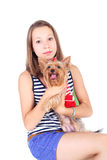 Teen and dog Royalty Free Stock Photo