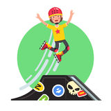 Teen doing stunt jump from ramp on skateboard. Teen kid doing stunt jump from skatepark quarter pipe ramp on roller skates. Extreme sport boy riding board in Stock Photos