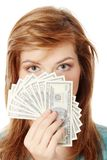 Teen with dollars Stock Photo