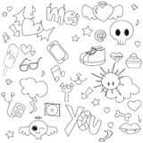 Teen doodle. Doodle collection teen style pattern Royalty Free Stock Photos