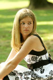 Teen in a dress. Teen wearing a beautiful dress outside Royalty Free Stock Images