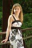Teen in a dress. Teen wearing a beautiful dress outside Royalty Free Stock Image