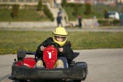 Teen Drives Go-kart. Teen Girl Drives Go-kart Royalty Free Stock Image