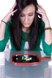 Teen Drug Addiction Problem. Teen Girl Taking Drugs - Teenage Drug Addiction Problem Stock Photos