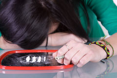 Teen Drug Addiction Problem - Cocaine Stock Photography