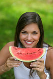 Teen eating watermelon Royalty Free Stock Photos