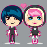 Teen Emo Couple. Happy young teen emo fashion couple smiling Royalty Free Stock Images
