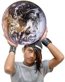 Teen emo or punk global power. Asian emo, goth or punk teen with long colored hair cap throwing the globe in an empowering and firm gesture. Concept of youth or Royalty Free Stock Photos