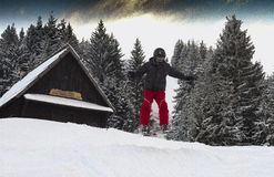 Teen enjoys free style skiing between trees in the alps Royalty Free Stock Photos