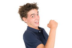Teen faces. Happy teenager boy making faces isolated in white Royalty Free Stock Photos