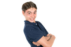 Teen faces. Teenager boy making happy faces isolated in white Stock Photo