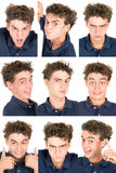 Teen faces. Teenager boy making several faces isolated in white Stock Images