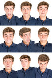 Teen faces. Teenager boy making several faces isolated in white Stock Photos
