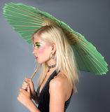 Teen In Fancy Makeup With Parasol Stock Photos