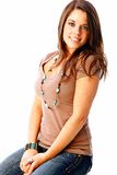 Teen fashion. With cute seventeen year old brunette with a natural and beautiful smile Stock Photo