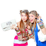 Teen fashion accessories. Happy teens with fashion accessories Stock Images
