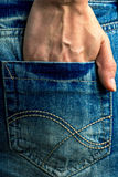 Teen fashion, hand of a girl in a pocket of a denim skirt. Teen fashion, hand of a girl in a pocket of a denim mini skirt Stock Photos