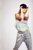 Teen with Fashionable Outfit On Gray Background Stock Images