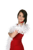 Teen with feather boa Royalty Free Stock Images