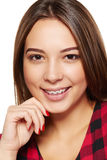 Teen female smiling with braces on her teeth Royalty Free Stock Photos