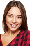 Teen female smiling with braces on her teeth Stock Photo