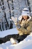 Teen fighting with snow balls Stock Photos