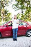 Teen With First New Car Royalty Free Stock Photography
