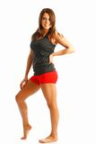 Teen fitness. Alex model shows off her legs in this cute fitness look Royalty Free Stock Images