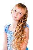 Teen flicka för fantastiska hår som isoleras på white Royaltyfri Fotografi