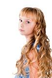 Teen flicka för fantastiska hår som isoleras på white Arkivbilder