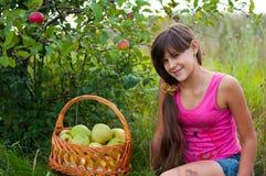 Teen flicka med korgen av äpplen Royaltyfri Fotografi