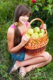 Teen flicka med korgen av äpplen Fotografering för Bildbyråer