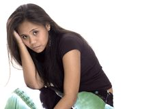 teen flickahuvudvärk Arkivfoto