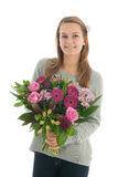 Teen with flowers Stock Photo