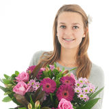 Teen with flowers Royalty Free Stock Image