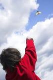 Teen flying kite royalty free stock image