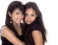 Teen Freinds. Back to Back friendship royalty free stock photo