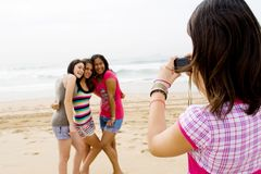 Teen friends taking photos Stock Photo