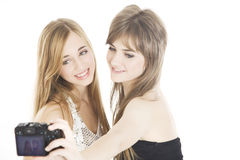 Teen friends taking a self portrait Royalty Free Stock Image