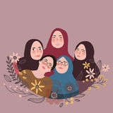 Teen friends wearing scarf veil pose together friendship fun Islam Royalty Free Stock Images
