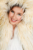 Teen in fur jacket Royalty Free Stock Photography